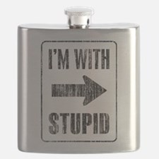 Vintage I'm With Stupid [r] Flask