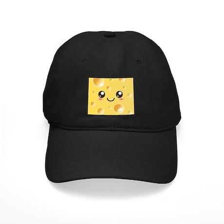 Cute Kawaii Happy Cheese Black Cap