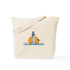 St. Simons Island - Lighthouse Design. Tote Bag