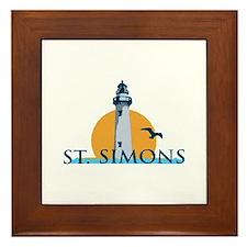 St. Simons Island - Lighthouse Design. Framed Tile