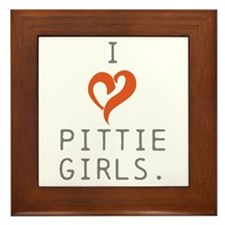 I heart Pittie girls. Framed Tile