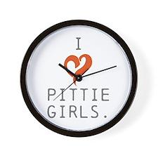I heart Pittie girls. Wall Clock