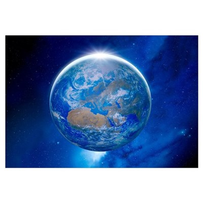 Earth from space, artwork Framed Print