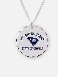 St. Simons GA - Map Design. Necklace