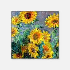 "Monet - Sunflowers Square Sticker 3"" x 3"""