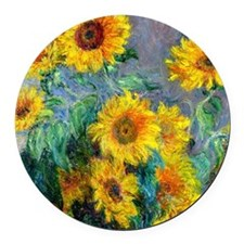 Monet - Sunflowers Round Car Magnet