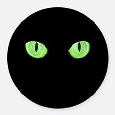 Green Cat Eyes Round Car Magnet