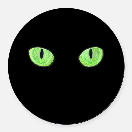 Green Cat Eyes Round Car Magnet