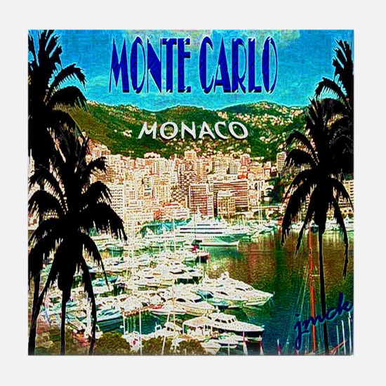 monte carlow monaco illustration Tile Coaster