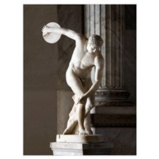 Discus thrower statue Framed Print