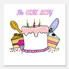 "cake lady.png Square Car Magnet 3"" x 3"""
