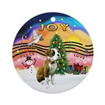 XmasMusic2 - Boxer Pup Ornament (Round)