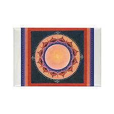 Blue and Purple Lotus Mandala Rectangle Magnet