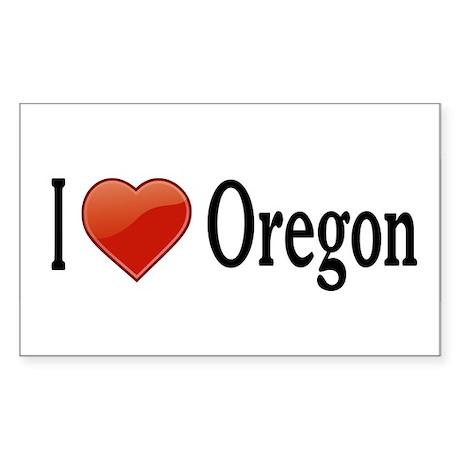I Love Oregon Sticker (Rectangle)