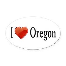 I Love Oregon Oval Car Magnet