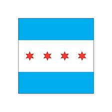 "Chicago Flag Square Sticker 3"" x 3"""
