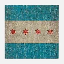 Vintage Chicago Flag Tile Coaster