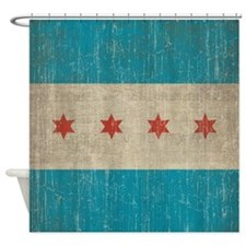 Vintage Chicago Flag Shower Curtain