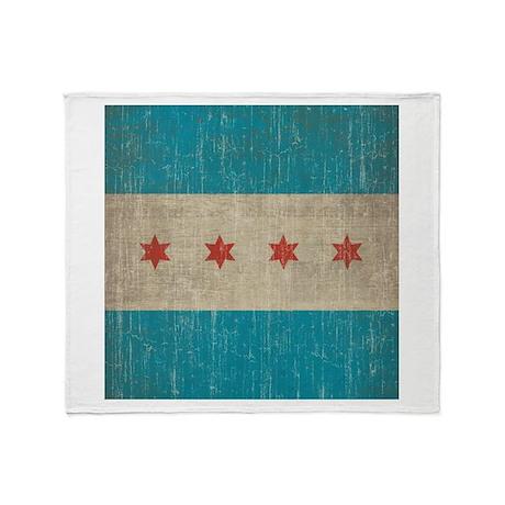 Vintage Chicago Flag Throw Blanket