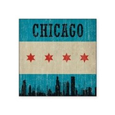 "Vintage Chicago Skyline Square Sticker 3"" x 3"""