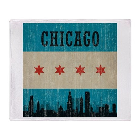 Vintage Chicago Skyline Throw Blanket