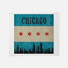 Vintage Chicago Skyline Throw Blanket
