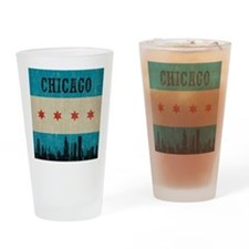 Vintage Chicago Skyline Drinking Glass