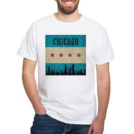 Vintage Chicago Skyline White T-Shirt