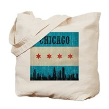 Vintage Chicago Skyline Tote Bag