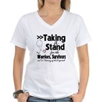 Taking a Stand Mesothelioma Women's V-Neck T-Shirt
