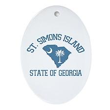 St. Simons GA - Map Design. Ornament (Oval)