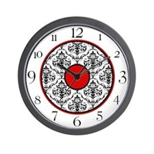 Red Black White Damask Elegant Clock Wall Clock