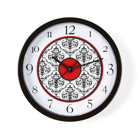 Red Black White Damask Elegant Clock Wall Clock