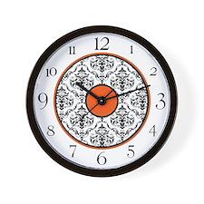Orange Black White Damask Elegant Clock Wall Clock