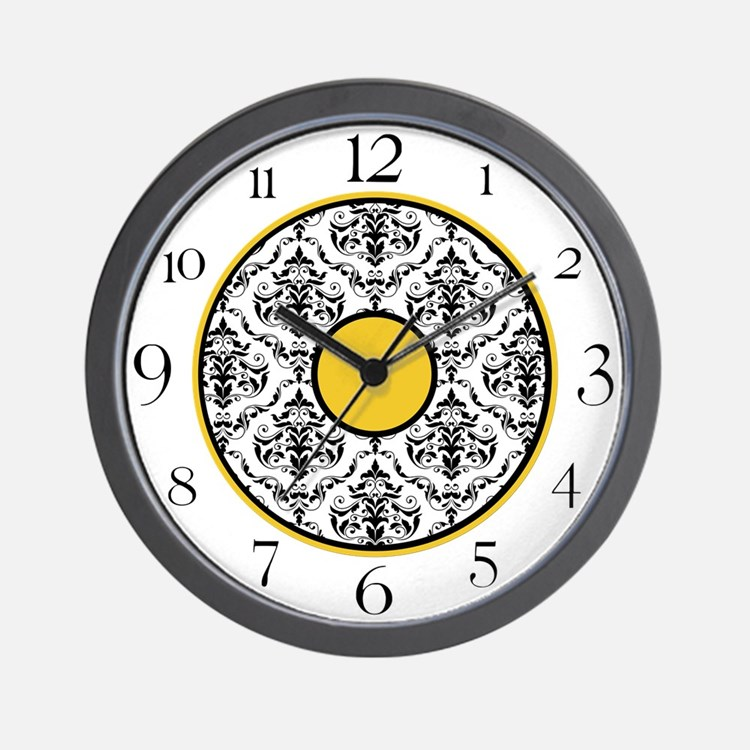 Yellow Black White Damask Elegant Clock Wall Clock