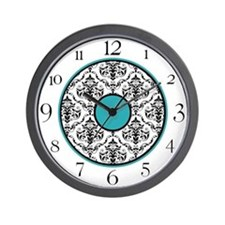 Turquoise Black White Damask Elegant Clock Wall Cl