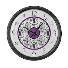 Purple Black White Damask Elegant Clock Large Wall