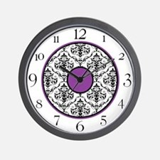 Purple Black White Damask Elegant Clock Wall Clock
