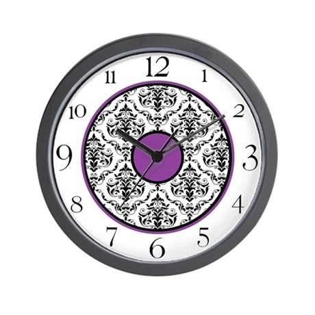 damask office accessories. purple black white damask elegant clock wall office accessories o