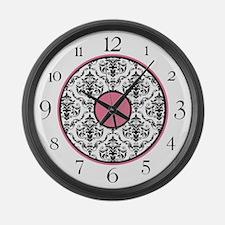 Pink Black White Damask Elegant Clock Large Wall C