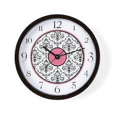 Pink Black White Damask Elegant Clock Wall Clock