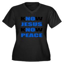 kNOw JESUS kNOw PEACE Women's Plus Size V-Neck Dar
