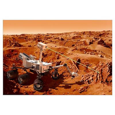 Curiosity rover on Mars, artwork Poster
