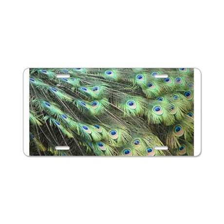 Helaine's Peacock Feathers Aluminum License Plate