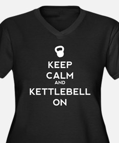 Keep Calm and Kettlebell On Women's Plus Size V-Ne