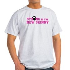 Strong is the New Skinny - Pink Kettlebell T-Shirt
