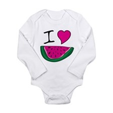 I Love Watermelon Long Sleeve Infant Bodysuit