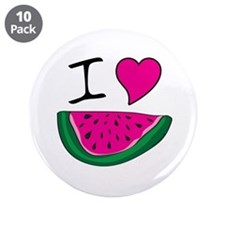 "I Love Watermelon 3.5"" Button (10 pack)"
