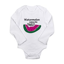 Watermelon Makes Me Smile Long Sleeve Infant Bodys