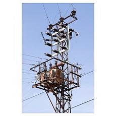 Electricity pylon in Gazipasa, Turkey Poster